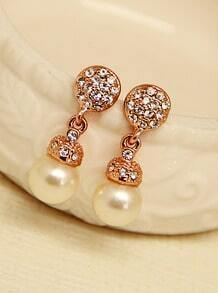 Gold Pearl Diamond Earrings