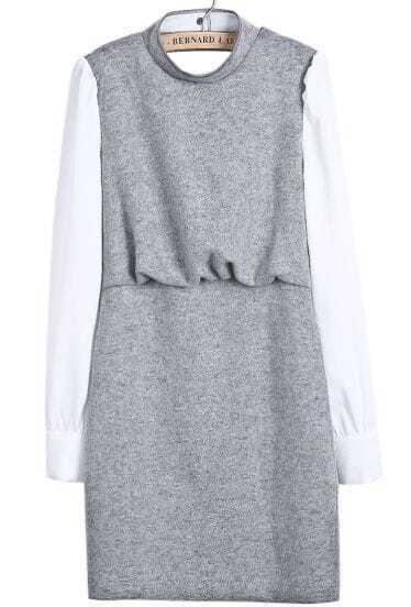 Grey Contrast Long Sleeve Backless Zipper Dress