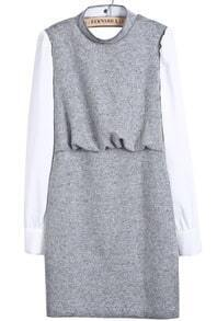 Grey Contrast Long Sleeve Backless Zipper Dress