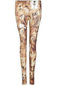 Yellow Skinny Fox Print Leggings