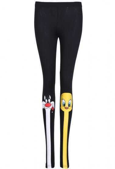 Black Skinny Cartoon Print Leggings
