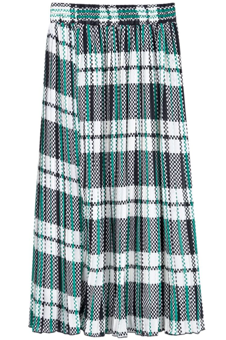 green plaid pleated chiffon skirt shein sheinside