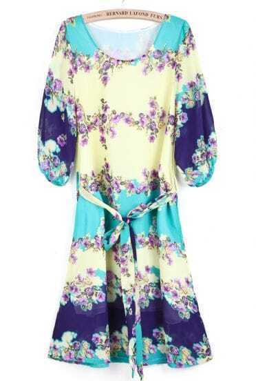 Green Yellow Long Sleeve Floral Loose Chiffon Dress