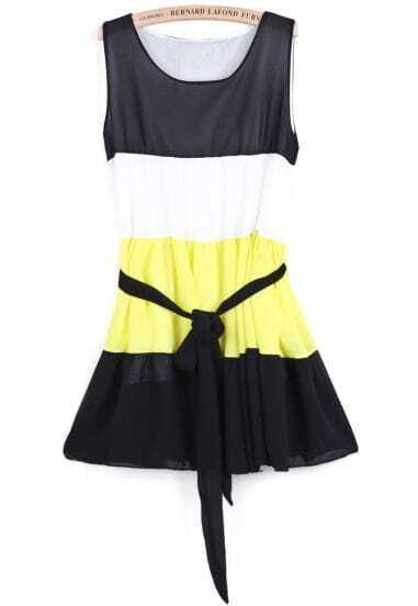 Black Sleeveless Belt Pleated Chiffon Dress