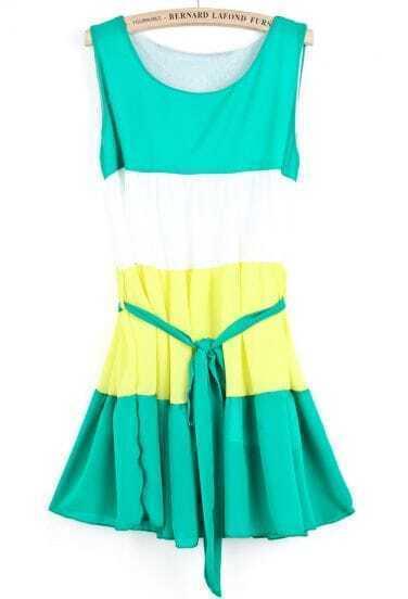 Green Sleeveless Belt Pleated Chiffon Dress
