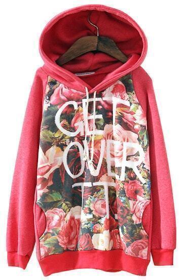 Red Hooded Long Sleeve Letters Rose Print Sweatshirt