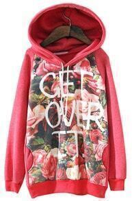 Red Hooded Long Sleeve Letters Rose Print Sweatshirt