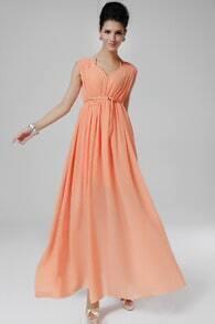 Pink V Neck Sleeveless Pleated Chiffon Dress
