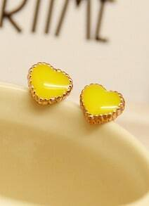 Yellow Glaze Gold Heart Earrings