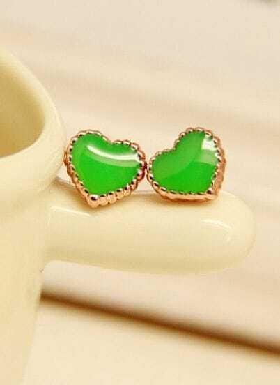 Green Glaze Gold Heart Earrings