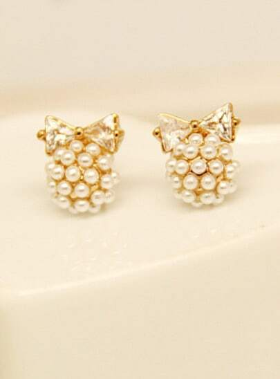Gold Pearls Bow Stud Earrings