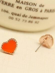 Orange Glaze Gold Heart Earrings