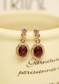 Red Gemstone Gold Diamond Earrings