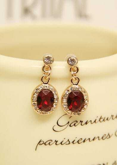 Red Gemstone Gold Diamond Earrings