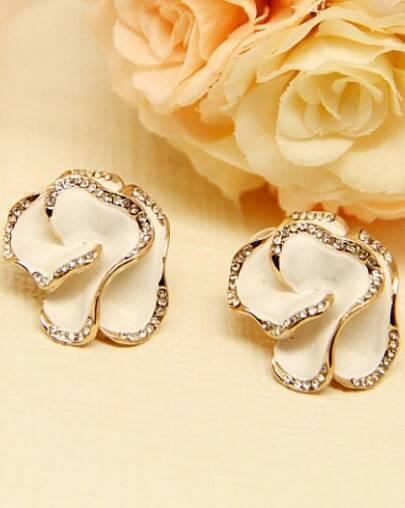 White Glaze Gold Diamond Rose Stud Earrings