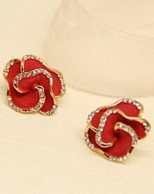 Red Glaze Gold Diamond Rose Stud Earrings
