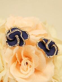Blue Glaze Gold Diamond Rose Stud Earrings