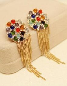 Multi Gemstone Gold Chain Tassel Earrings