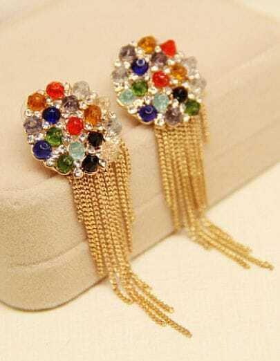 Multi Gemstone Gold Chain Tassel Earrings