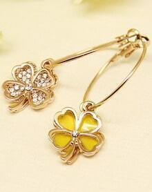 Yellow Glaze Gold Flower Earrings