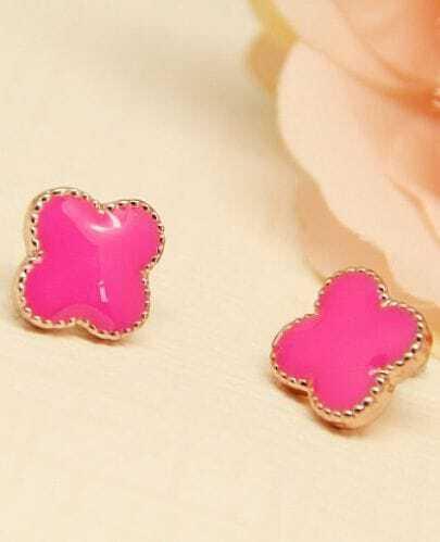 Rose Red Glaze Gold Flower Stud Earrings