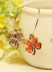 Orange Glaze Gold Flower Earrings