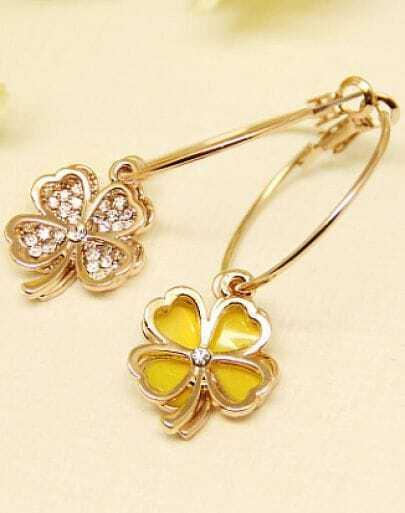 Yellow Glaze Gold Flower Earrings