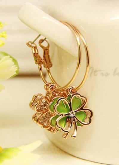 Green Glaze Gold Flower Earrings