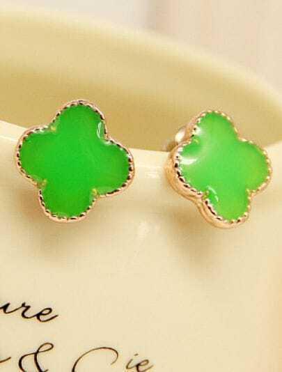 Green Glaze Gold Flower Stud Earrings
