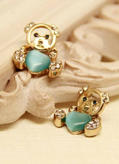 Green Heart Gemstone Gold Bear Earrings