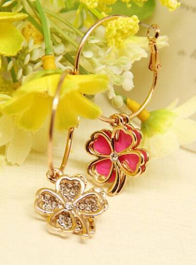 Rose Red Glaze Gold Flower Earrings