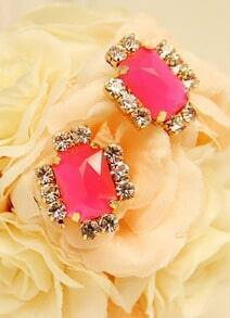 Red Gemstone Gold Diamond Stud Earrings
