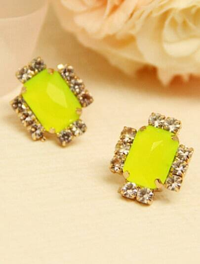 Yellow Gemstone Gold Diamond Stud Earrings