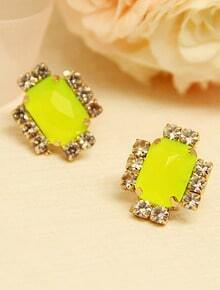 Yellow Gemstone Gold Diamond Stud Earrings