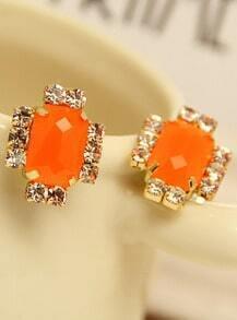 Orange Gemstone Gold Diamond Stud Earrings