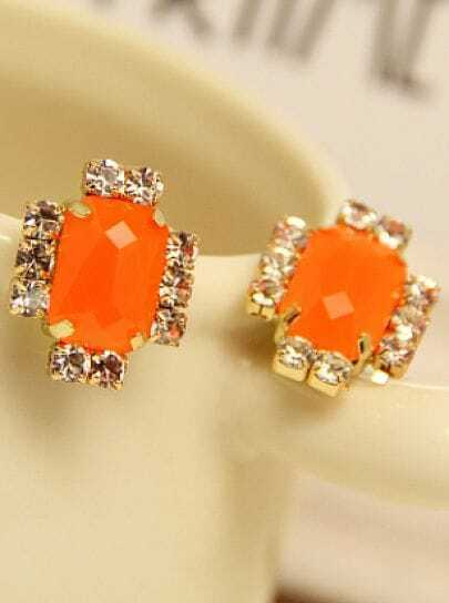 Orange Gemstone Gold Diamond Stud Earrings