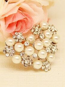 Silver Pearls Diamond Brooches