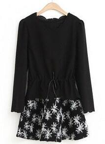 Black Ruffle Collar Long Sleeve Floral Two Pieces Dress