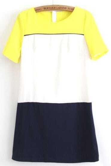 Yellow White Navy Short Sleeve Zipper Dress