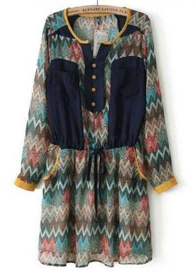 Khaki Long Sleeve Zigzag Drawstring Chiffon Dress