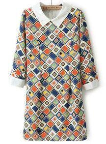 Multi Long Sleeve Geometric Print Chiffon Dress