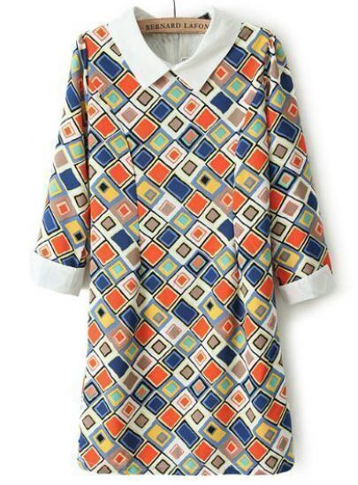 Multi Long Sleeve Geometric Print Chiffon Dress
