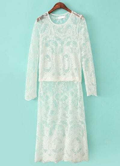 White Long Sleeve Hollow Embroidered Lace Dress