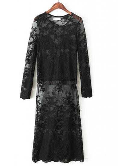 Black Long Sleeve Hollow Embroidered Lace Dress