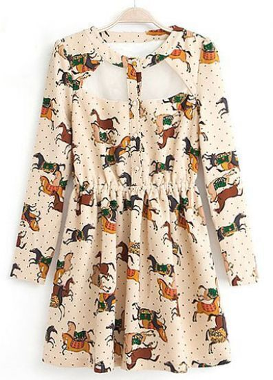 Beige Long Sleeve Polka Dot Horses Print Dress
