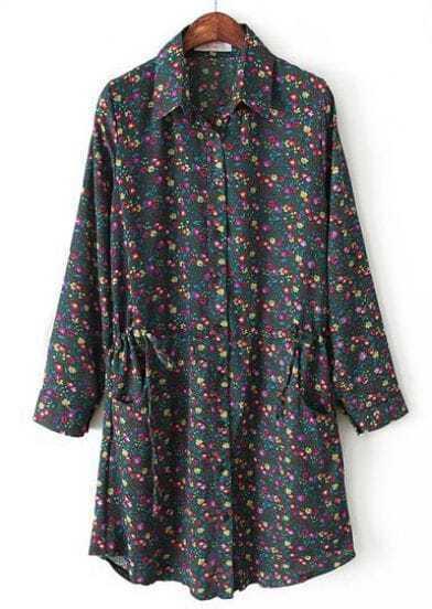 Dark Green Lapel Long Sleeve Floral Drawstring Dress