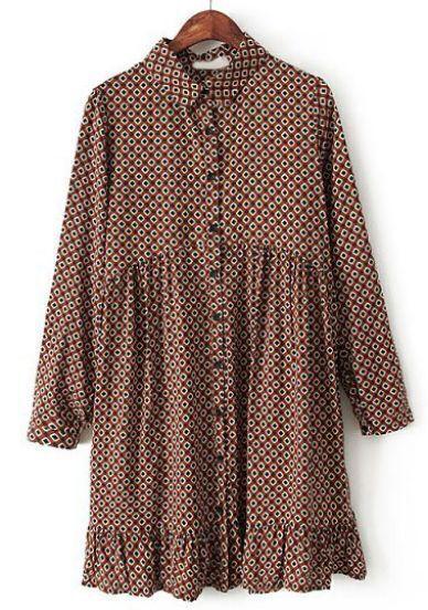 Khaki Long Sleeve Geometric Print Pleated Dress