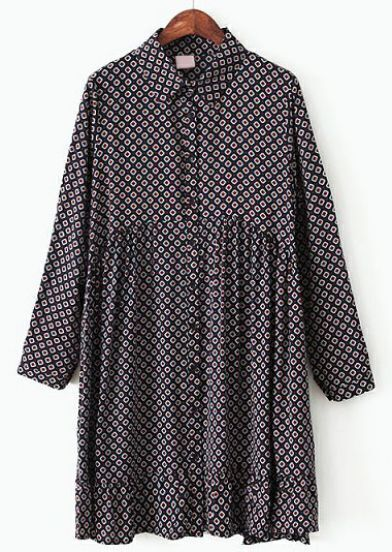 Navy Long Sleeve Geometric Print Pleated Dress