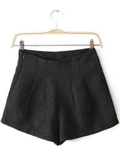 Black Mid Waist Embroidered Shorts