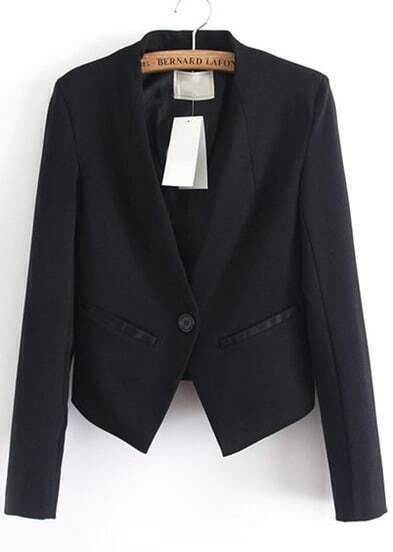 Black Contrast PU Leather Pockets Crop Blazer
